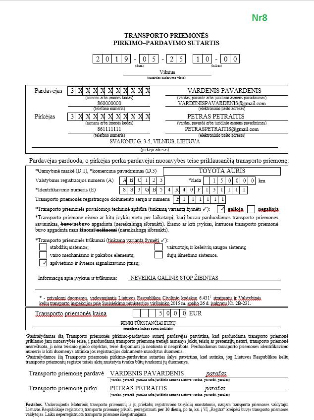 pavyzdis kaip uzpildyti pirkimo pardavimo sutarti regitra supirkejubaze